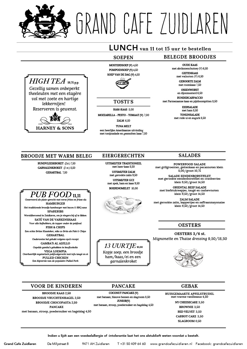 Menu Lunch | Grand Café Zuidlaren